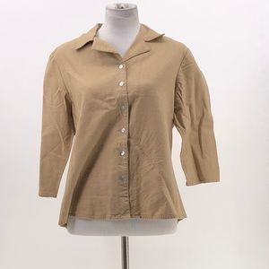 Sportelle Tops - sportelle linen blend button up shirt light brown